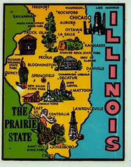 illinois map (EllenJo) Tags: vintagetraveldecal decal waterdipdecal vintage ellenjo