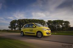 New Renault Twingo (Ogenblik fotografie) Tags: netherlands nederland beweging snelheid speed geel yellow twingo renault road street grass longexposure carcamerarig ccr rolling shot rig rigshot rollingshot ogenblikfotografie