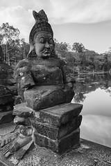 Angkor Thom – South Gate (Thomas Mülchi) Tags: angkor siemreap cambodia 2018 siemreapprovince angkorthom southgate moat bridge gate statues gods deamons naga snake serpentsevenheaded bw monochrome krongsiemreap kh