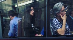 Daydreaming (Angel S. M.) Tags: valencia spain window people girl busstop eyesclosed streetphotography