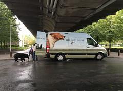 The Dog House van (jovike) Tags: bollard concrete dog graphicconverter lamp london people van