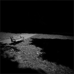 After The End (Olli Kekäläinen) Tags: work4494 nikon d800 photoshop ok6 square ollik 2018 20180818 bw dark blackandwhite tuomarinkylä helsinki suomi finland shadows empty bench