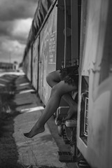 On the train. (Andrés Gallego) Tags: nikon d750 bw bnw tamron train tren medias sensual sexy monochromatic