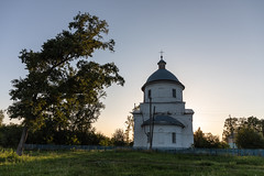 Church at sunset. (Oleg.A) Tags: old building cathedral penzaregion russia church nature dome brick city outdoor rural materials viewpoint exterior bell countryside summer sunset orthodox tree evening tower twilight town architecture cross landscape village design style catedral landscapes outdoors bolshoyvyas penzenskayaoblast ru