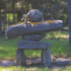 besties (rockinmonique) Tags: moncton nb newbrunswick mikesfrontyard inuksuk dambo summer textures miniature toy moniquewphotography canon canont6s tamron tamron45mm copyright2018moniquewphotography