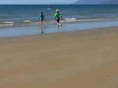 Can't wait for that dip (Marian Pollock) Tags: beach iphone australia queensland shoreline water sea ocean children running portdouglas fourmilebeach waves people reflections