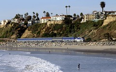 AMTRAK Surfliner (Prayitno / Thank you for (12 millions +) view) Tags: konomark san clemente beach pacific ocean shore line water front waves amtrak train track surfliner day time view fun activity tourist attraction point interest relax relaxing location