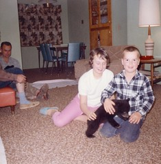 My brother and sister with a bear cub in our home, 1965. (Gary Sharp) Tags: bears family 1960's 1965 oregon sixties reedsport bobsharp gordonsharp susansharp bearcub bear father