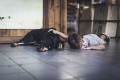 Negra and Vini. (Pablin79) Tags: two young cute animal dog pet petshop people kid child childhood relax friends friendship posadas misiones argentina vini indoors reflections light summer