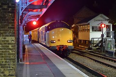 37610 on the rear of the Network Rail Test Trainat Saxmundham, running Cambridge Reception Lines to Cambridge Reception Lines, via East Anglia. 13 09 2018 (pnb511) Tags: eastsuffolkline saxmundham suffolk train class37 diesel locomotive loco railway night dark colas testtrain hnrc
