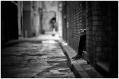Back to black (gro57074@bigpond.net.au) Tags: grunge black f14 105mmf14 artseries sigma nikon hand leg backstreets alleyways cbd alley suggestive mono monotone monochrome bw blackwhite sydney streetphotography