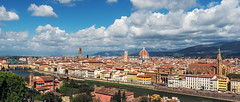 Florence (phyrrula) Tags: florence discoveryitaly arno bridge italy travel mostvisitedplaces turism holiday nikonphotography wideanglelens walking history clouds sky oldtown tuscany panorama landscape