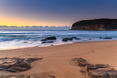 Sunrise by the Sea (Merrillie) Tags: daybreak sunrise coastal nature water centralcoast morning sea bluesky macmasters newsouthwales rocks earlymorning nsw landscape australia ocean scenic waterscape waves blueskies macmastersbeach outdoors seascape dawn coast sky seaside