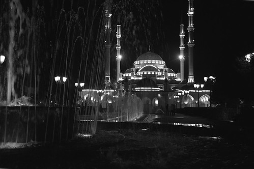 Central Mosque (Black and White) 1 - Grozny, Chechnya