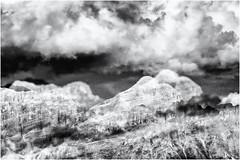 Dreaming of Mountains... (Ody on the mount) Tags: abstrakt anlässe berge dolomiten doppelbelichtung em5ii filmkorn fototour himmel mzuiko40150 mehrfachbelichtung omd olympus rahmen südtirol urlaub wolken abstract bw clouds monochrome mountains multiexposure sw sky