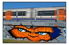 STREET ART by ASTEK (StockCarPete) Tags: astek astekgraffiti streetart londonstreetart urbanart graffiti thething comic comiccharacter character stare eyes train londonovergroundtrain movement stakeboarder shoreditchart london uk