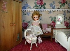 Vintage Tiny Betsy McCall (TutuBella) Tags: betsymcmcall americancharacter doll vintage vintagetoys 1957 strombecker wardrobe armoire antique 1950s closet bedroom dollhouse daisydayes pink poodle originalbirthdaypartydress