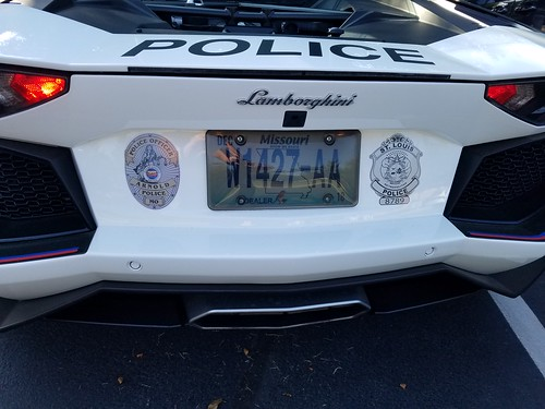 Lamborghini Aventador Pirelli Edition Police Car Showing Arnold Mo And St.  Louis City Mo Badge