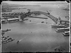 Sydney Harbour Bridge, arches under construction, 1927-1932, Milton Kent State Library of New South Wales (State Library of New South Wales collection) Tags: milton kent photography aerial sydney early glass plate negatives