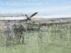 Ghosts of Summers Past (DarwinRobot) Tags: royalairforce aviationphotography raf battleofbritain freddiemarchspiritofaviation goodwoodrevival hawkerhurricane multipleexposure aviationhistory grrc