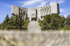 Friendship (tehroester) Tags: trees green dof blue sky building architecture mountain landscape soviet monument friendship varna bulgaria