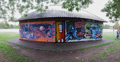Cheltenham Paint Fest (DJLeekee) Tags: cheltenham paintfest 2018 park graffiti streetart dog sighs fem sorcell