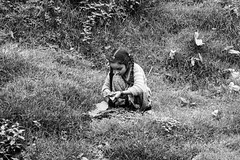 Nature is my Playground (PB2_3132) (Param-Roving-Photog) Tags: girl child playing leaves ground field village rural lakkarmandi dalhousie himachal streetphotographer candidphotography monochrome blackandwhite bw musing mood thoughts visualstoryteller
