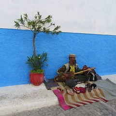 Casablanca musician (irwinm16) Tags: casablanca morocco blue musician