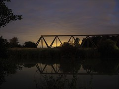 Train Bridge (ClementainPhoto) Tags: sun bridge train relax summer kanal germany deutschland spiegel natur olympus golden mark ii friends fun fishing angeln industrial hidde lostplace dailylife mirror sunset