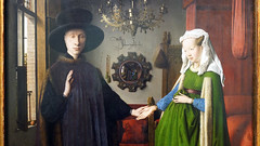 Jan Van Eyck, Couple detail close, The Arnolfini Portrait