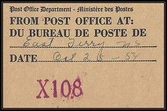 Nova Scotia Postal History - 25 October 1954 - X108 / EAST FERRY (Digby County), N.S. (straight-line MOON cancel / postmark / marking) on piece (Treasures from the Past) Tags: circulardatestamp postalwayoffice postmaster postoffice novascotia postalhistory ns county splitring brokencircle splitcircle postmark cancel cancellation marking son mail letter stamp canada novascotiapostalhistory canadapost eastferry digbycounty mooncancel moon moneyorderofficenumber