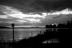 Do Not Enter (Nikon F80) (stefankamert) Tags: stefankamert bodensee hegne allensbach landscape bw baw noir noiretblanc blackandwhite blackwhite clouds evening dawn water lake lakeconstance nikon f80 film analog grain ilford hp5 voigtländer ultron sky