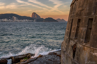 Copacabana Fortress with Sugar Loaf in background