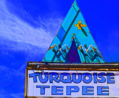 Turquoise Teepee (oybay©) Tags: az arizona williams nikon d5000 sign signs vintage neon small town west pams pics pam morris store turquoise teepee storefront jewelry indian shopping southwest route 66 mother road text street outdoor signboard