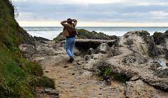 Week 35. Exploring. (hmcgee18) Tags: explorer beach person water sea rocks texture colour croyde