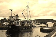 Heading out to sea (Sundornvic) Tags: coaster historic steamer boat ship coal vic 32 puffer canal caledonian inverness steam transport ancient old sepia