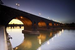 Bridge over the Rhine at dusk (EricMakPhotography) Tags: longexposure dusk sunset twilight red rhine europe