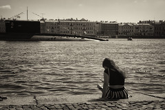 After the parade - После парада (Valery Parshin) Tags: russia saintpetersburg canoneos70d tamron18200f3563diiivc girl river submarine stpetersburg blackandwhite monochrome