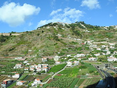 Near Cabo Girao, Madeira (Linda 2409) Tags: landscape mountain tunnel road expressway crops houses