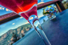 🍸 (Natalia Medd) Tags: cocktail refreshment hotday daiquiri bluesky ice cold red reflection glass sky clouds blue