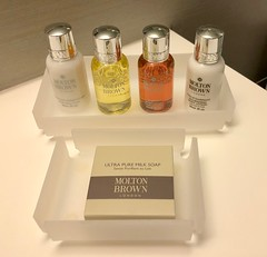 Mere Hotel, Winnipeg (Lynn Friedman) Tags: moltonbrown toiletries merehotel manitoba winnipeg canada bathroom amenities soap shampoo conditioner bodywash bodylotion