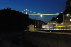 Driving Me Round The Bend (HiJinKs Media...) Tags: cliftonsuspensionbridge isambardkingdombrunel industrial lighttrails water wall steps ladder vehicles sky bristol citylife citylights citynights