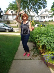 A Sunny Sunday (Laurette Victoria) Tags: sandals leggings sidewalk laurette woman redhead curly