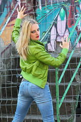 Yvonne 28 (The Booted Cat) Tags: sexy blonde hair girl model tight blue jeans denim belt leather jacket heels highheels boots ass