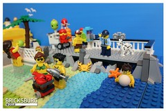 Are you sure we can have a barbecue on the beach? (EVWEB) Tags: summer minifigures humor comics vignettes 2018 lego beach sea police barbecue grill fish man guy girl wave rocks