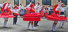 folk dancers (albyn.davis) Tags: panorama dance dancing color colorful bright vivid vibrant red people luxembourg europe travel movement action