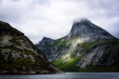 Mountains in Kjerkfjorden. Lofoten Norway (lasse christensen) Tags: dsc3941 norway nordland lofoten kjerkfjorden fjord sea sjø clouds skyer moskenesøy