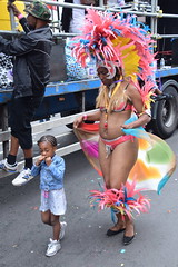 DSC_8030 Notting Hill Caribbean Carnival London Exotic Colourful Pink Costume with Pink Yellow and Blue Ostrich Feather Headdress Girls Dancing Showgirl Performers Aug 27 2018 Stunning Ladies (photographer695) Tags: notting hill caribbean carnival london exotic colourful costume girls dancing showgirl performers aug 27 2018 stunning ladies pink with yellow blue ostrich feather headdress