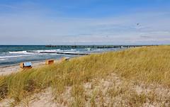 Strand mit Seebrücke Wustrow (Wunderlich, Olga) Tags: ostsee wustrow sand meer seebrücke strandkörber möwe wellen wind strandhafer landschaft mecklenburgvorpommern darss