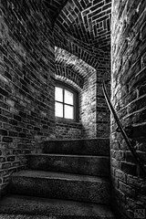 Steps UP in the Lighthose -explore- (MAICN) Tags: turm architektur building mono gebäude structure backsteine bricks bw wall blackwhite monochrome sw tower schwarzweis ziegelwand architecture 2018 einfarbig ziegel geometry wand